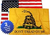 Premium Quality, 3x5ft, Gadsden Flag & American Flag Combo Pak Review