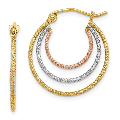 Mia Diamonds 925 Sterling Silver Yellow and Rose Vermeil Textured Fancy Hoop Earrings (21mm x 21mm) ()