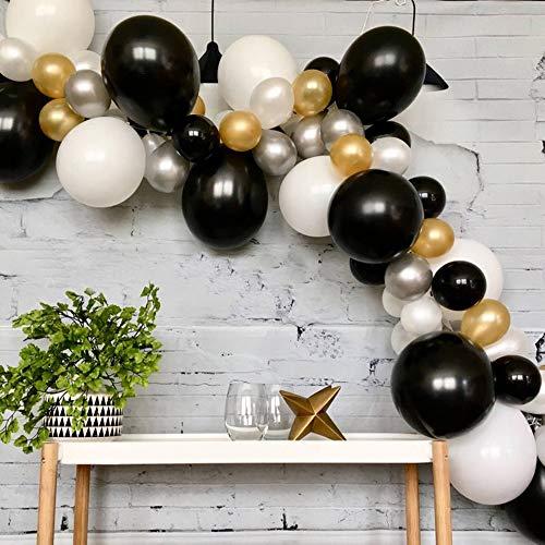 (Balloon Garland Arch Kit 16Ft Long 131 Pcs Black, White & Gold & Silver Latex Balloon Garland Kit for Wedding Birthday Graduation Anniversary Party Decorations)