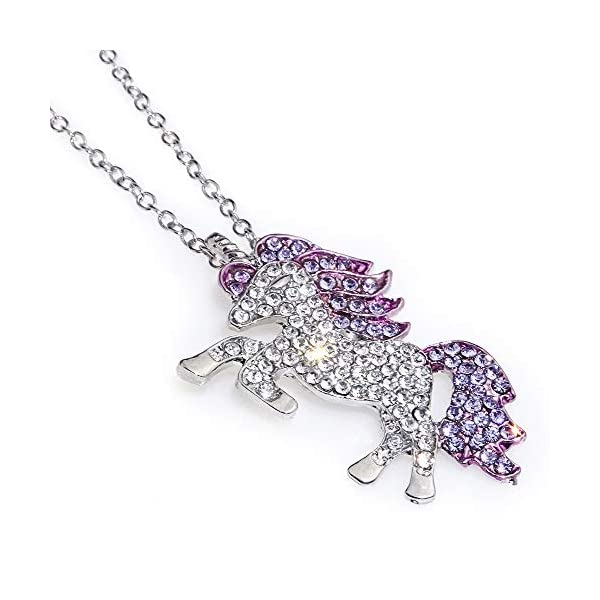Gleamart Unicorn Necklace Rainbow Rhinestone Crystal Necklace for Women 3