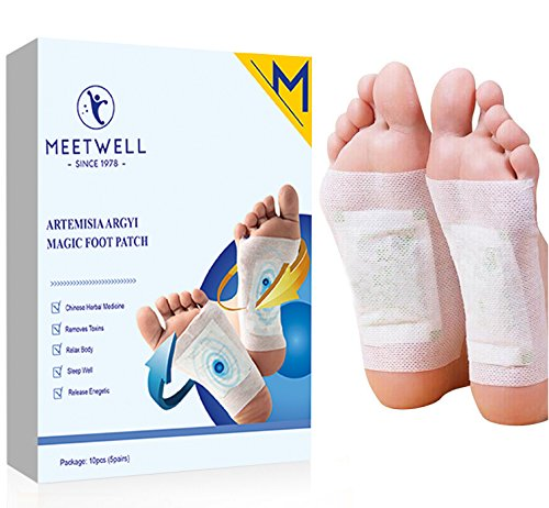 MEETWELL Foot Patch, Body Relief and Tired Foot Relief Pads, Herbal Artemisia Argyi Powder and Essential Oil, Bamboo Vinegar Essence Foot Care Pads, 10 Pieces (5 Pairs) by MEETWELL