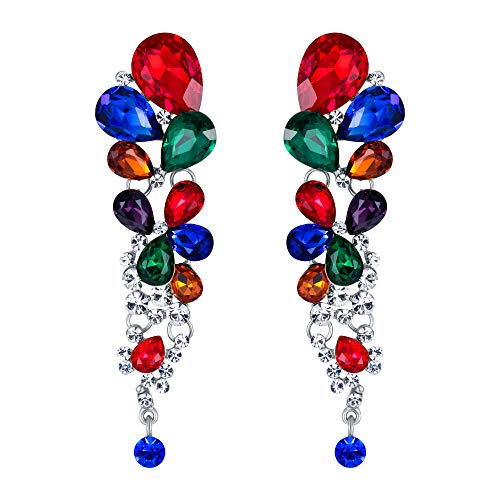 (EVER FAITH Women's Crystal Gorgeous Tear Drop Wedding Dangle Pierced Earrings Multicolor Silver-Tone)