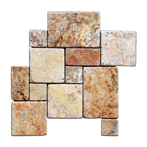 Scabos Travertine 4-Pieced OPUS Mini-Pattern Tumbled Mosaic Tile - Box of 5 sq. -