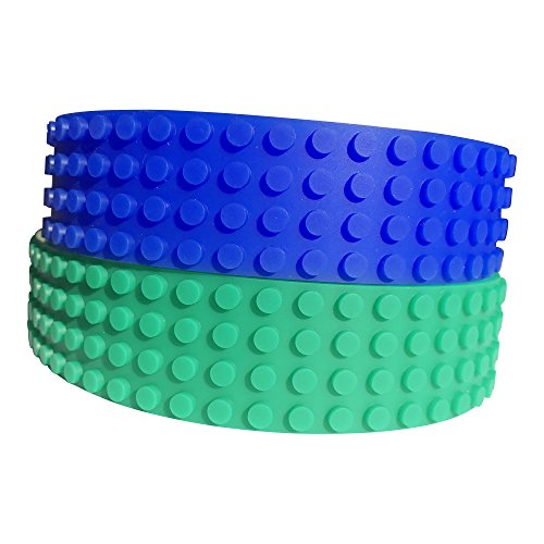 2 PACK Lego Tape Blue Green Large 4 Stud Building block compatible by STIKBRIK
