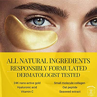 (18 Pairs) All Natural Under Eye Patches & Masks   Best Treatment for Bags & Puffiness, Wrinkles and Dark Circles   24K Gold, Anti Aging Collagen, Hyaluronic Acid, Hydrogel   Designed in San Francisco