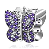 Butterfly Charm with Purple CZ 925 Sterling Silver Animal Charm for European Charms Bracelet