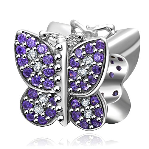SOUKISS Butterfly Charm with Purple CZ 925 Sterling Silver Animal Charm for European Charms Bracelet (Pandora Best Friend Butterfly Charm)