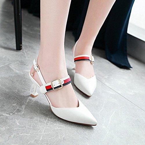 Mee Shoes Damen High Heels Schnalle Slingback Sandalen Weiß