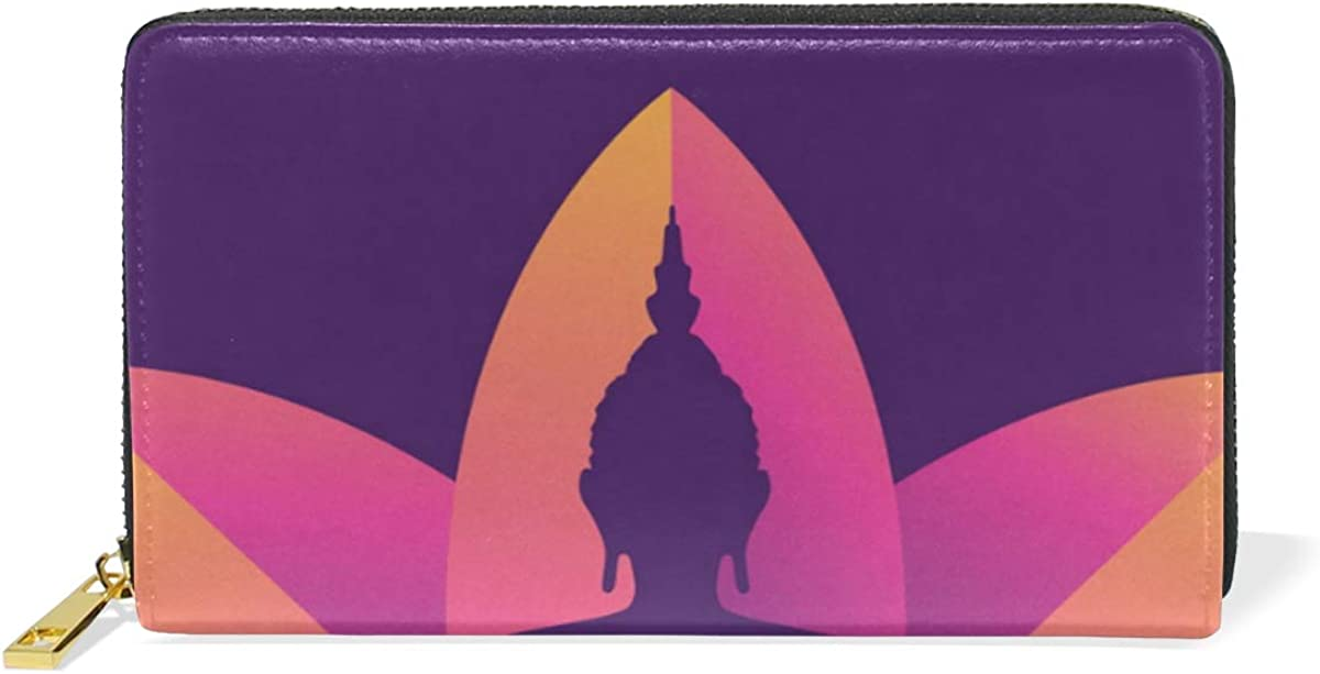 DEZIRO Buddah Sittting On Lotus Flower Lady Purse Zip Around Credit Card Case