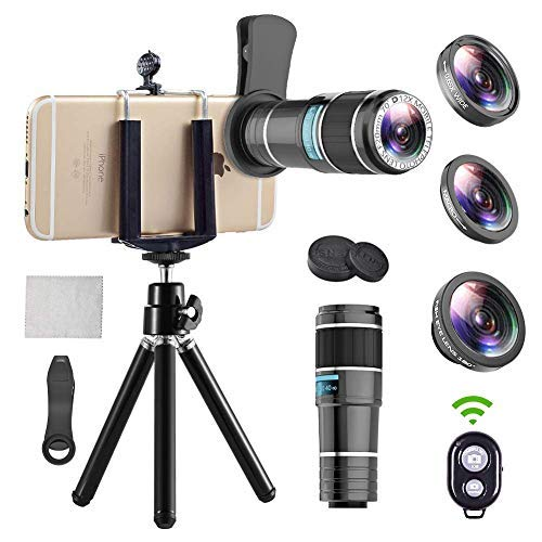 Phone Camera Lens, 4 in 1Cell Phone Lens kit, 12x Telephoto Lens + 0.65x Wide Angle Lens + Macro Lens + Fisheye Lens,Clip-On Lenses for iPhone Android Smartphone with Tripod+Shutter Remote
