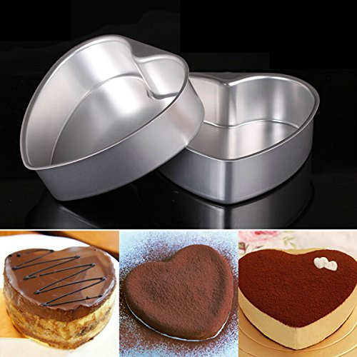 OUNONA 6 Inch Heart Shaped Removable Bottom Thicken Aluminum Alloy Chocolate Cake Pan Tin Baking Mold Mould (Silver)