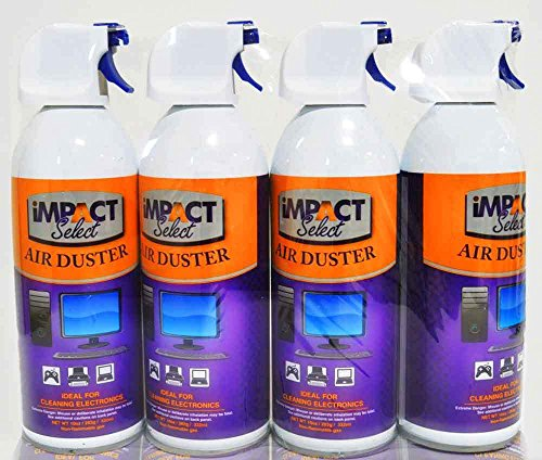 (Impact Select Air Duster Compressed Canned Air Keyboard Computer Cleaner Dust Off 10oz Can with Straw (4 Pack))