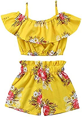 Toddler Kids Baby Girl Floral Outfits Clothes T-shirt Tops+Pants//Shorts 2PCS Set