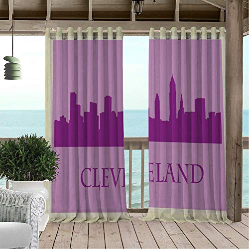Patio Waterproof Curtain Cleveland Metropolitan City Buildings Skyline Postage Stamp Inspired Frame Purple Lilac and Beige pergola Grommet Party Curtains 108 by 84 inch