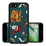 Liili Premium Apple iPhone 7 Aluminum Backplate Bumper Snap Case iPhone7 ID: 28799094 Hand drawn colored pirates seamless pattern with dices skull saber vector illustration