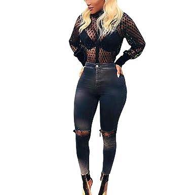 11b1d9728 Women's Sheer Button Down Shirt See Through Polka Dot Long Sleeve Turn Down  Collar Blouse Top