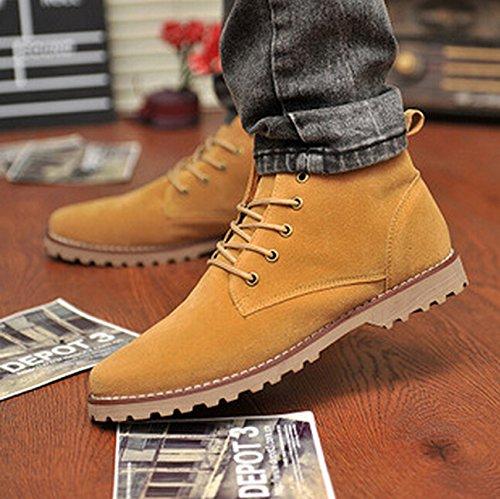 Gleader Nueva moda britanicos para hombre Casual de encaje gamuza Botines Mocasines Zapatillas de deporte Amarillo ( Tamano:43 )