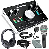 M-Audio M-Track 2X2M USB Audio Interface with MIDI I/O and Deluxe Bundle w/Dynamic Mic + Closed-Back Headphones + Pop Filter + Cables + More