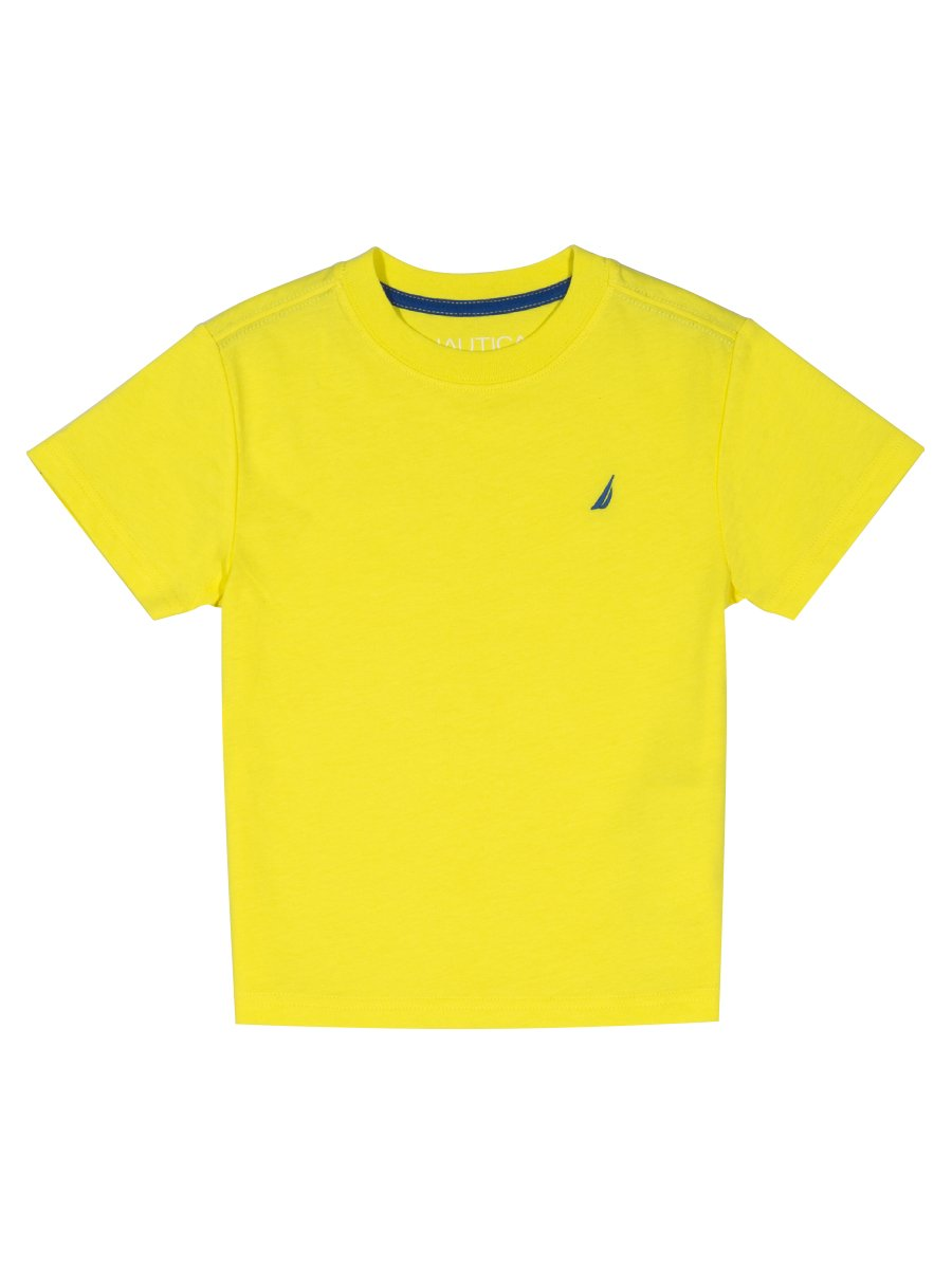 Nautica Boys' Short Sleeve Solid Crew-Neck T-Shirt, Coast Firefly, 7x