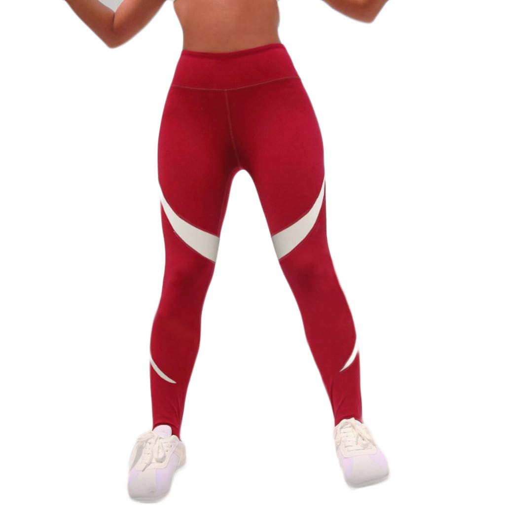High Waist Yoga Pants for Women,Tummy Control Workout Pants 4 Way Stretch Honeycomb Dot Hip Yoga Leggings Yamally Red