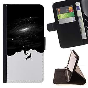 Momo Phone Case / Flip Funda de Cuero Case Cover - Fumar B & W Espacio;;;;;;;; - LG G4c Curve H522Y (G4 MINI), NOT FOR LG G4