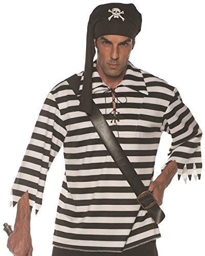 Underwraps Men's Classic Pirate Striped Shirt Costume-Black/White, Double X-Large
