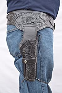 Gun Holster & Belt Cowboy Western Style Rig .44/.45 Cal Single Drop Holster Standard Long Barrel