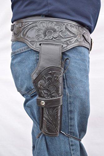 Leathertown USA Gun Holster & Belt Cowboy Western Style Rig .44/.45 Cal Single Drop Holster Standard Long Barrel Black Floral Tooled Size 36