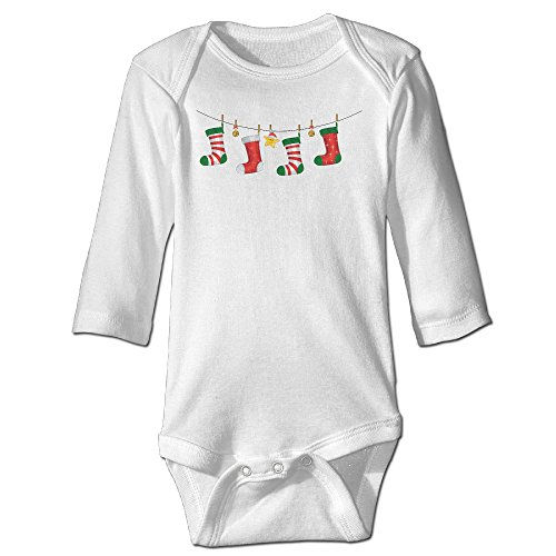 Merry Christmas Stockings Original For Baby Climbing Long Sleeved Clothing White