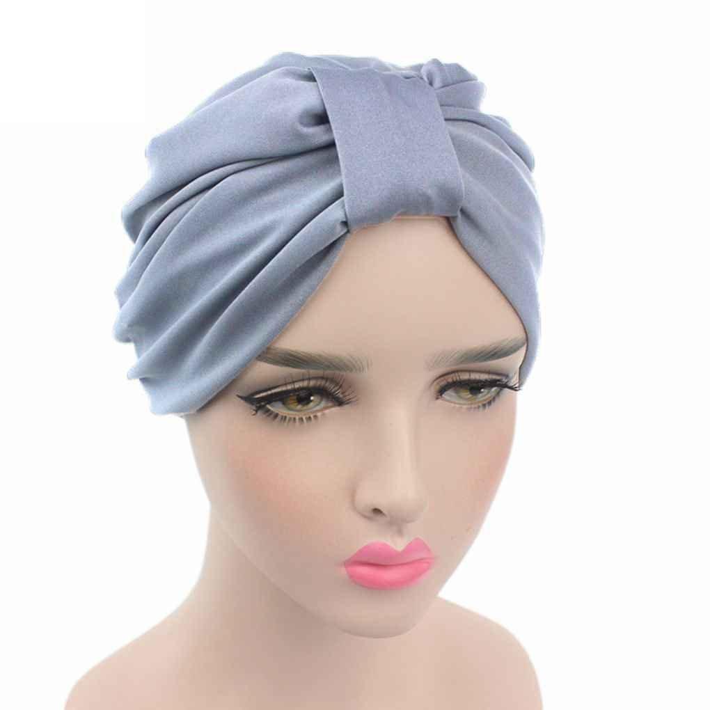 Bobury Envoltura para el cabello de color Soild de mujer cubre sombreros de turbante indio Caps of Modal