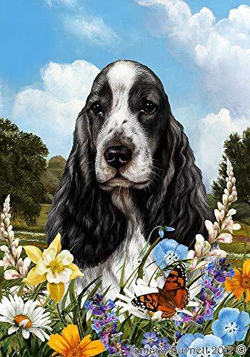 Best of Breed English Cocker Spaniel Black and White Summer Flowers Garden Flag