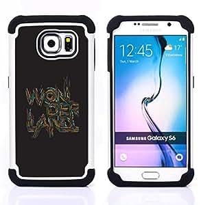 - quote text art quote brown/ H??brido 3in1 Deluxe Impreso duro Soft Alto Impacto caja de la armadura Defender - SHIMIN CAO - For Samsung Galaxy S6 G9200