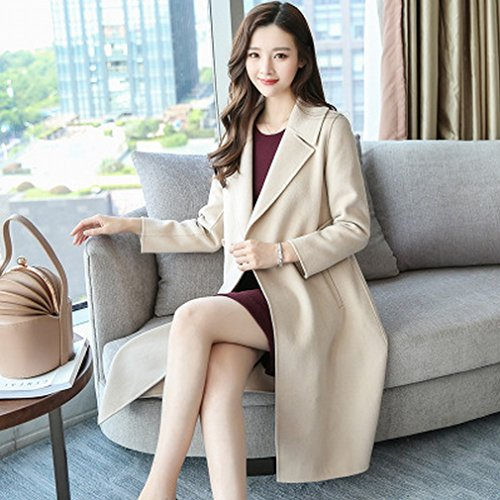 Was Female of Child Fashion Woolen white Coat Coat and Section Models Long Temperament Slim Autumn in the LD Milky Winter 8wZ0EqZ