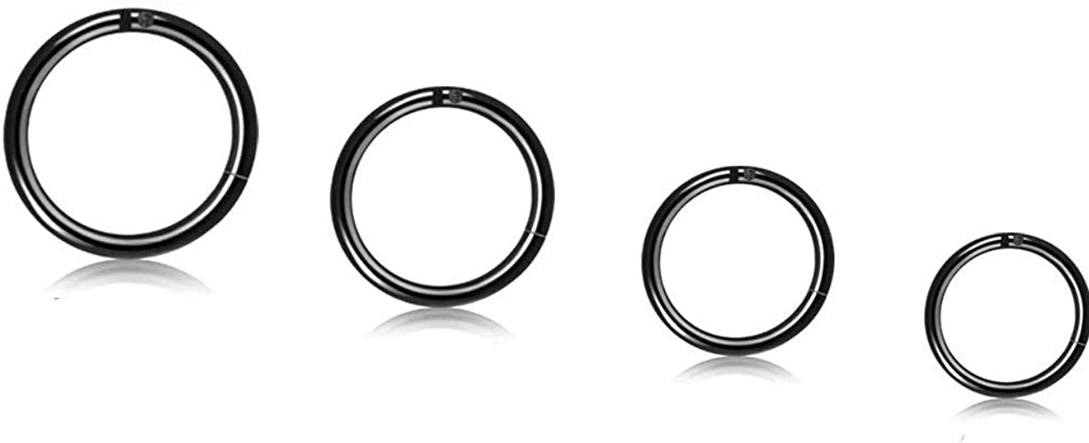 Thunaraz 6Pairs Stainless Steel 16g Cartilage Hoop Earrings for Men Women Hinged Clicker Nose Ring Helix Septum Couch Daith Lip Tragus Sleeper Earrings 8-12MM