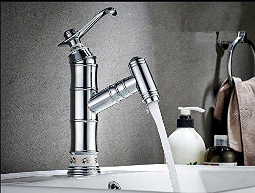 ETERNAL QUALITY Bathroom Sink Basin Tap Brass Mixer Tap Washroom Mixer Faucet All copper pull faucet hot and cold retractable single hole plating Kitchen Sink Taps