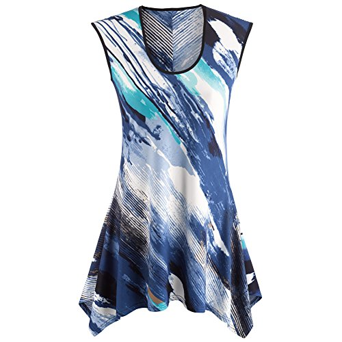 CATALOG CLASSICS Women's Sleeveless Tunic Top - Waves Of Color Blue and White Blouse - 1X