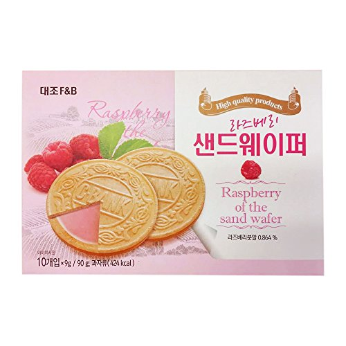 Korean Premium Thin and Crispy Cream Filled Wafers 90g (Raspberry, 1 Pack)