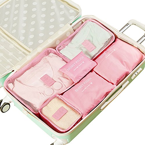 EALEK Packing Cube Set 6pcs,Compression Pouches Travel Luggage Organizers Clothes Storage Bags Laundry Bag (3 Cubes 3 Pouches,Pink)