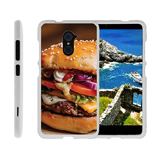 TurtleArmor | ZTE Kirk Case | Imperial Max Case | Max Duo Case [Slim Duo] Hard Lightweight PC Plastic with Rubberized Coating 2 Piece Cover Shell on White Food Image - Gourmet Hamburger
