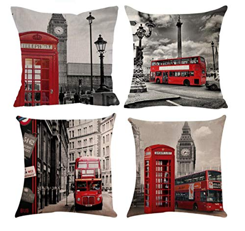 Emvency Set of 4 Linen Throw Pillow Covers 18x18 Inches...
