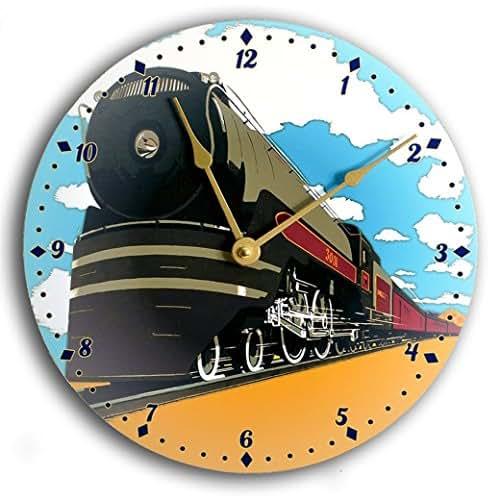 Vintage art train clock. Railroad clock. Blue, black and gold 10 inch wall clock.