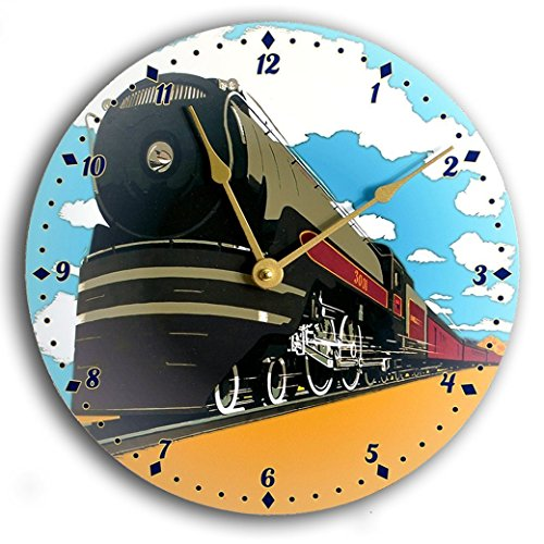 Vintage art train clock. Railroad clock. Blue, black and gold 10 inch wall clock.