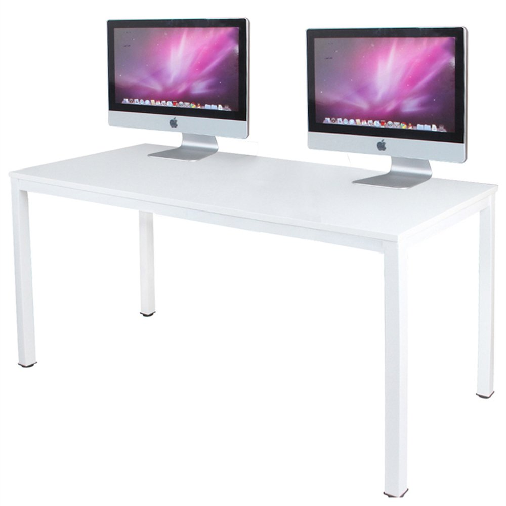 DlandHome 63 inches X-Large Computer Desk, Composite Wood Board, Decent and Steady Home Office Desk/Workstation/Table, BS1-160WW White and White Legs, 1 Pack by DlandHome