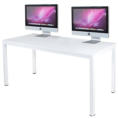 DlandHome 63 inches X-Large Computer Desk, Composite Wood Board, Decent and Steady Home Office Desk/Workstation/Table, BS1-160WW White and White Legs, 1 Pack