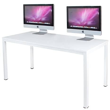 Amazing Dlandhome 55 Inches Large Computer Desk Composite Wood Board Decent And Steady Home Office Desk Workstation Table Bs1 140Ww White And White Legs 1 Home Interior And Landscaping Ferensignezvosmurscom