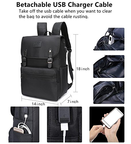8b23a645691c Laptop Backpack Men Women Business Travel Computer Backpack School College  Bookbag Stylish Water Resistant Vintage Backpack with USB Port Fashion  Black Fits ...