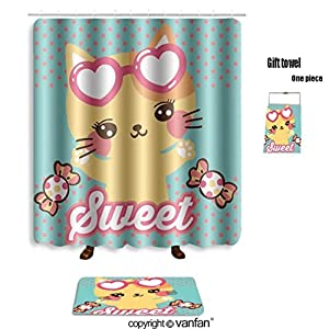 vanfan bath sets with Polyester rugs and shower curtain cute cat cartoon and candy on polka dots back shower curtains sets bathroom 72 x 72 inches&31.5 x 19.7 inches(Free 1 towel and 12 hooks)