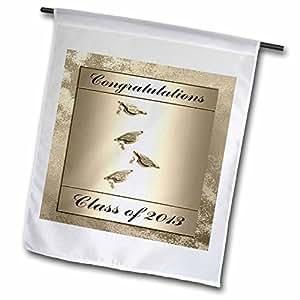 Beverly Turner Graduation Design - Class of 2012, Caps with Tassels, Gold, Congratulations - 18 x 27 inch Garden Flag (fl_43448_2)