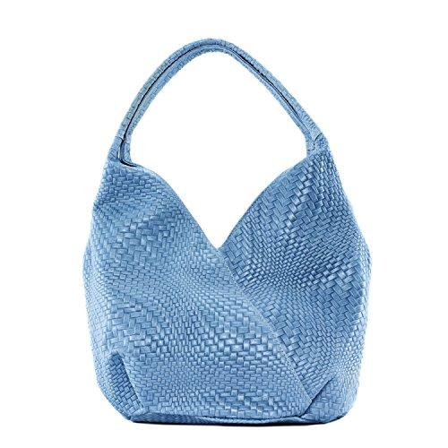femme Sac Main cuir à Bleu Clair Mandalay tressé en Modèle Erq5rA