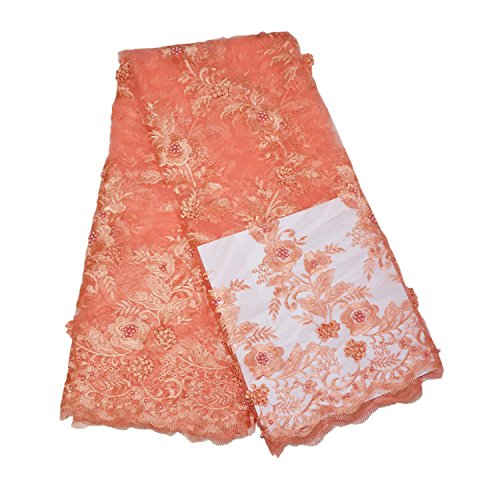 LaceQiao 5 Yards 2018 Latest Pearls French Nigerian Eyelash Lace Fabrics Tulle African Laces Fabrics Wedding African French Tulle Lash Lace with Beads (Peach)